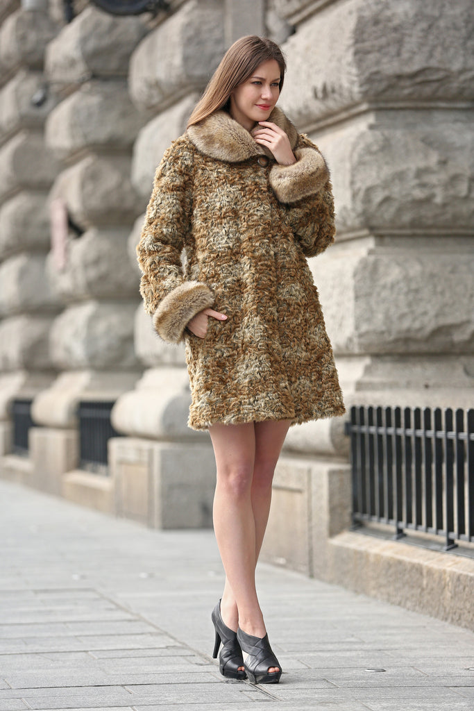 Brown Thick Persian Lamb Faux Fur Coat Faux Raccoon Collar - Adelaqueen - 3