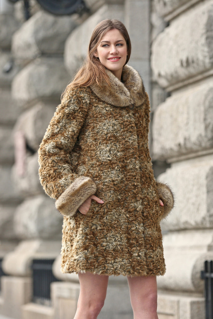 Brown Thick Persian Lamb Faux Fur Coat Faux Raccoon Collar - Adelaqueen - 4