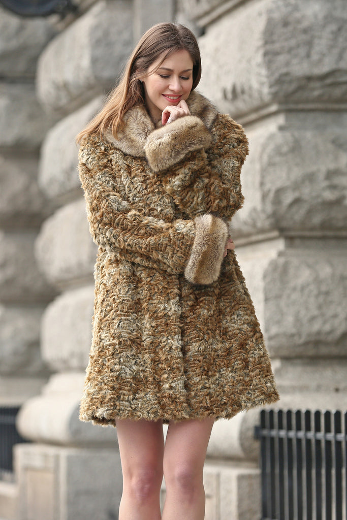 Brown Thick Persian Lamb Faux Fur Coat Faux Raccoon Collar - Adelaqueen - 5