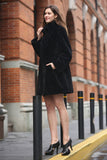 Persian Lamb Fabulous Faux Fur Coat Stylish Black - Adelaqueen - 4
