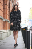 Floral Cloud Print lush Persian Lamb Faux Fur Coat Collarless - Adelaqueen - 5
