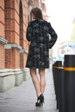 Floral Cloud Print lush Persian Lamb Faux Fur Coat Collarless - Adelaqueen - 6