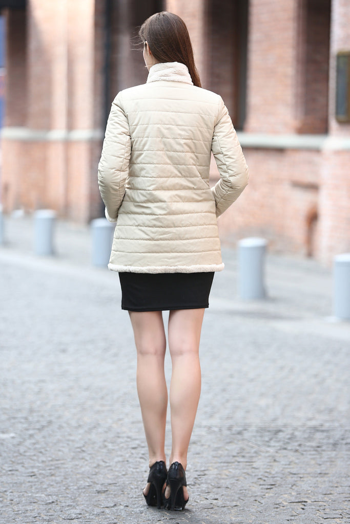 Beige Practic Revesible Short Jacket Fabulous Faux Fur Coat - Adelaqueen - 3