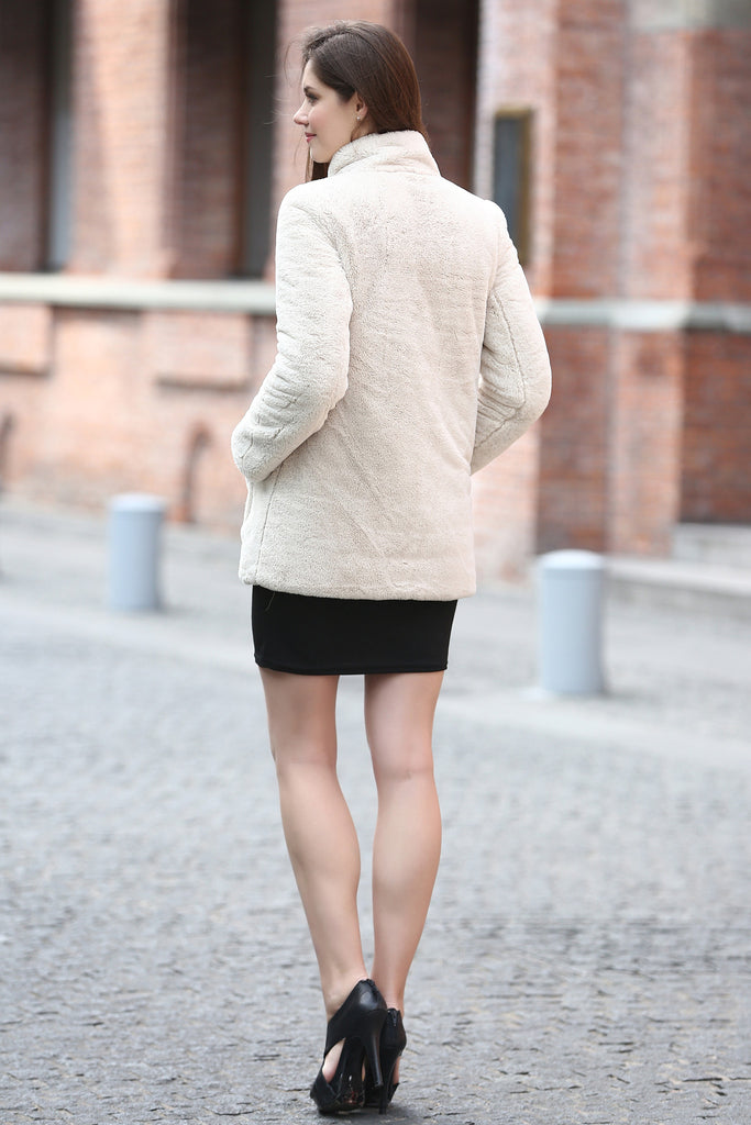Beige Practic Revesible Short Jacket Fabulous Faux Fur Coat - Adelaqueen - 7