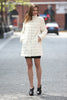 Elegant Beige Faux Fur Coat Middle Length with Stand Collar - Adelaqueen - 2