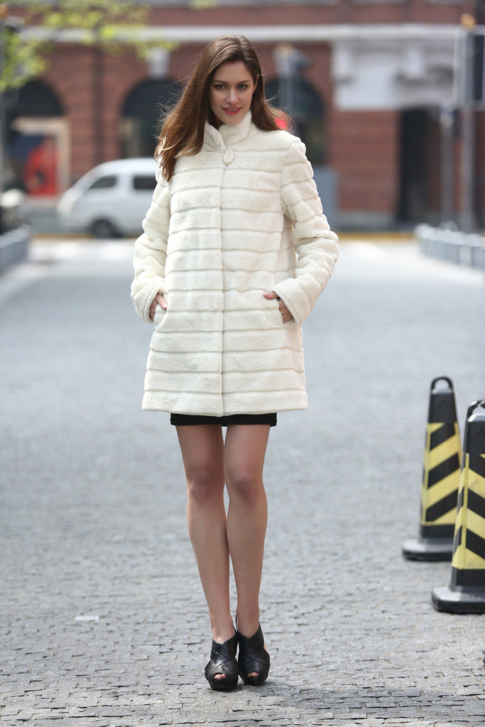 Elegant Beige Faux Fur Coat Middle Length with Stand Collar - Adelaqueen - 5