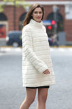 Elegant Beige Faux Fur Coat Middle Length with Stand Collar - Adelaqueen - 6