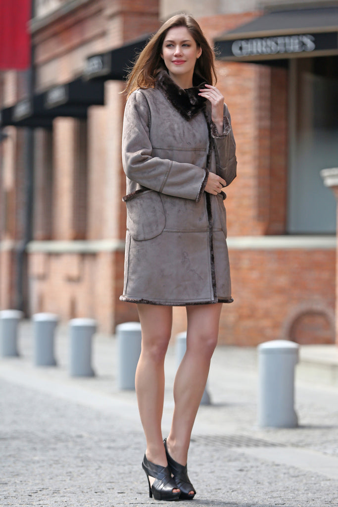 Grey Faux Suede Leather Pea Coat Lining with Lush Faux Fur - Adelaqueen - 2