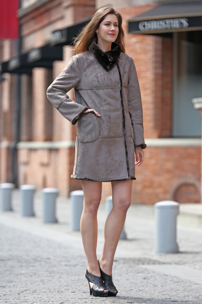 Grey Faux Suede Leather Pea Coat Lining with Lush Faux Fur - Adelaqueen - 3
