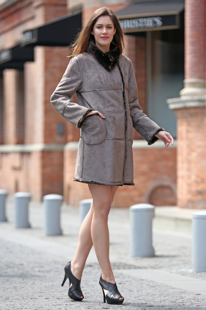 Grey Faux Suede Leather Pea Coat Lining with Lush Faux Fur - Adelaqueen - 4