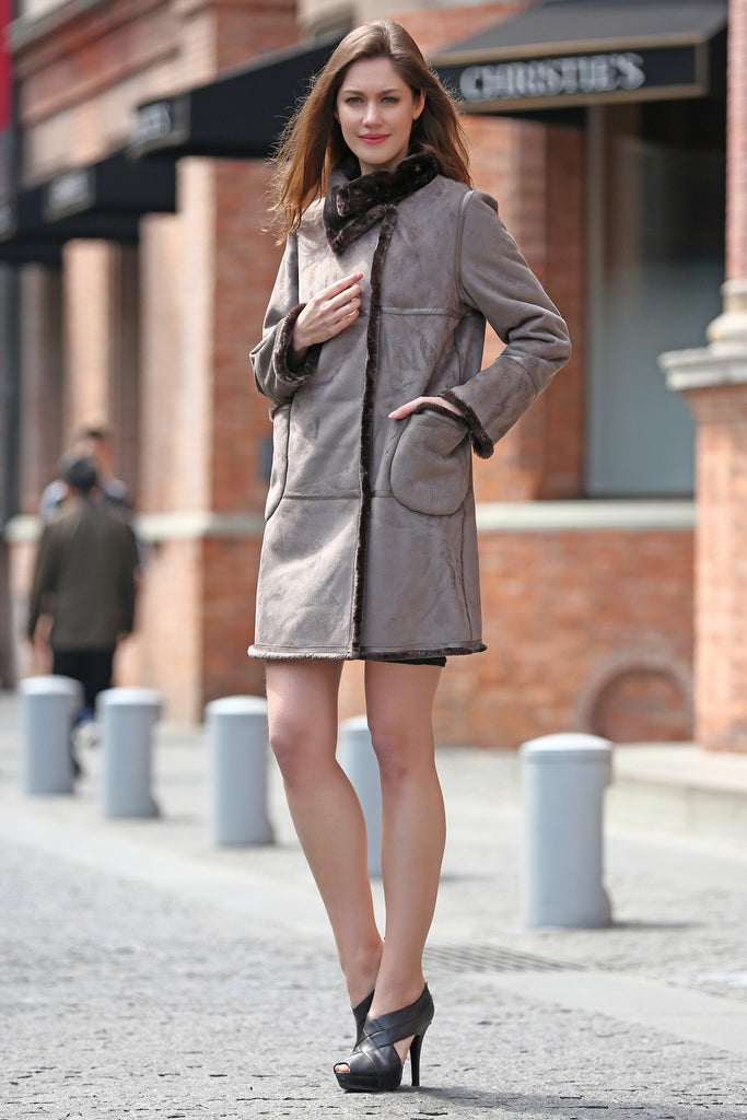 Grey Faux Suede Leather Pea Coat Lining with Lush Faux Fur - Adelaqueen - 6