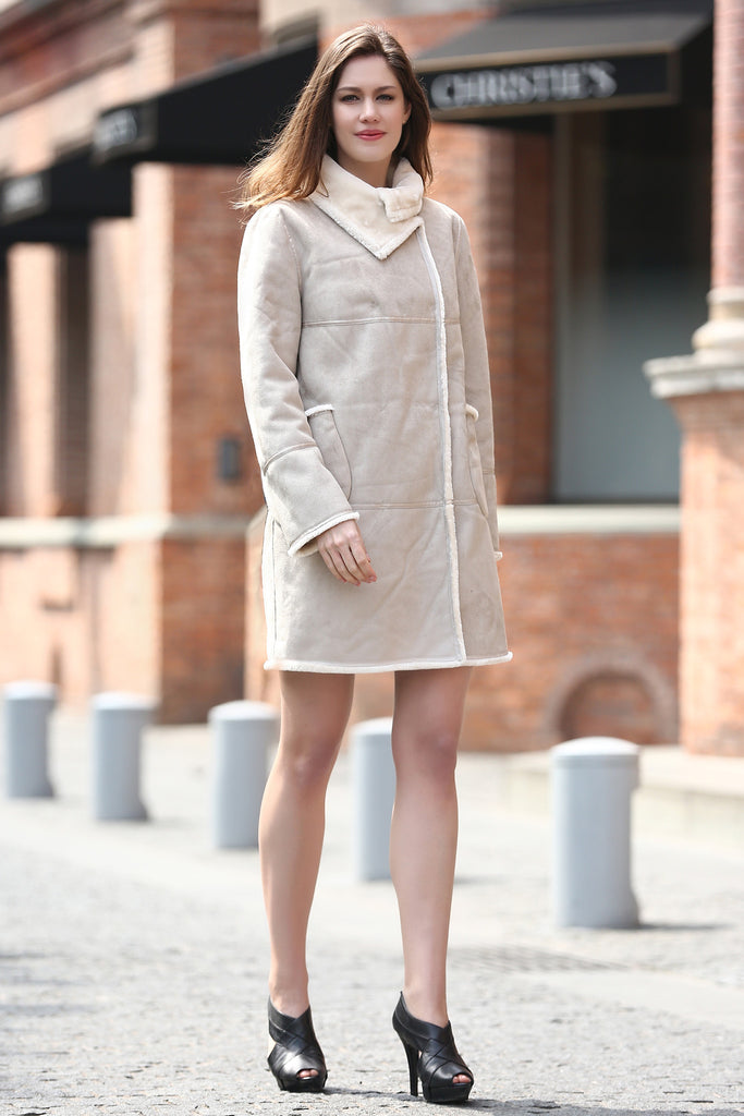 Beige Faux Suede Leather Pea Coat Lining with Lush Faux Fur - Adelaqueen - 2