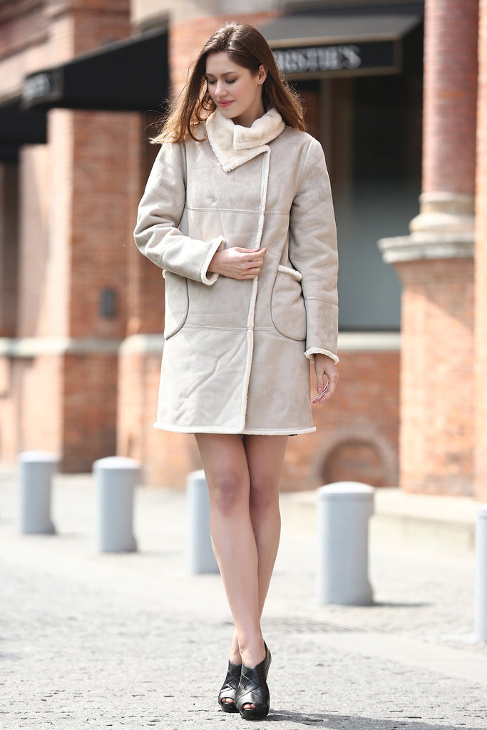 Beige Faux Suede Leather Pea Coat Lining with Lush Faux Fur - Adelaqueen - 3