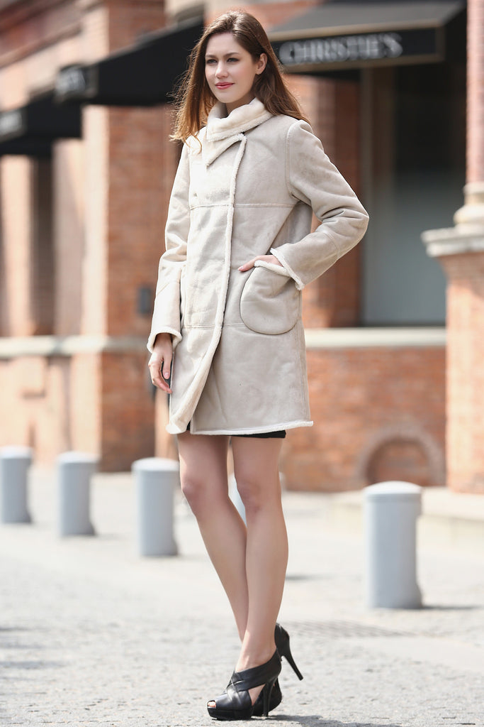 Beige Faux Suede Leather Pea Coat Lining with Lush Faux Fur - Adelaqueen - 4