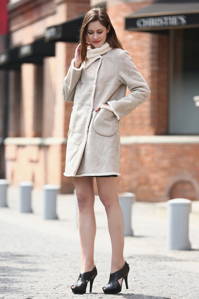 Beige Faux Suede Leather Pea Coat Lining with Lush Faux Fur - Adelaqueen - 5
