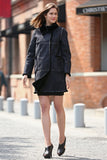 Black Faux Suede Leather Pea Coat Lining with Lush Faux Fur - Adelaqueen - 2