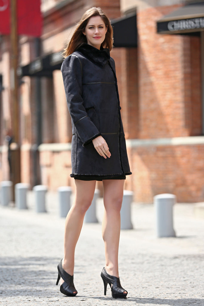 Black Faux Suede Leather Pea Coat Lining with Lush Faux Fur - Adelaqueen - 5