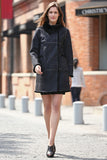Black Faux Suede Leather Pea Coat Lining with Lush Faux Fur - Adelaqueen - 3