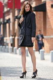 Black Faux Suede Leather Pea Coat Lining with Lush Faux Fur - Adelaqueen - 4