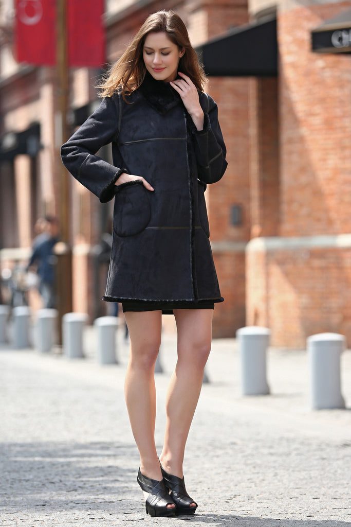 Black Faux Suede Leather Pea Coat Lining with Lush Faux Fur - Adelaqueen - 6