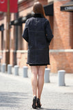 Black Faux Suede Leather Pea Coat Lining with Lush Faux Fur - Adelaqueen - 7