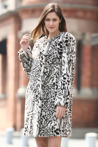 Snow Leopard Print Lush Faux Fur Mink Coat with Lower Hem