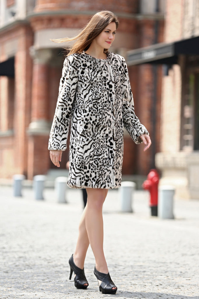 Winter Style Fabulous Leopard Print Faux Fur Coat Collarless - Adelaqueen - 3
