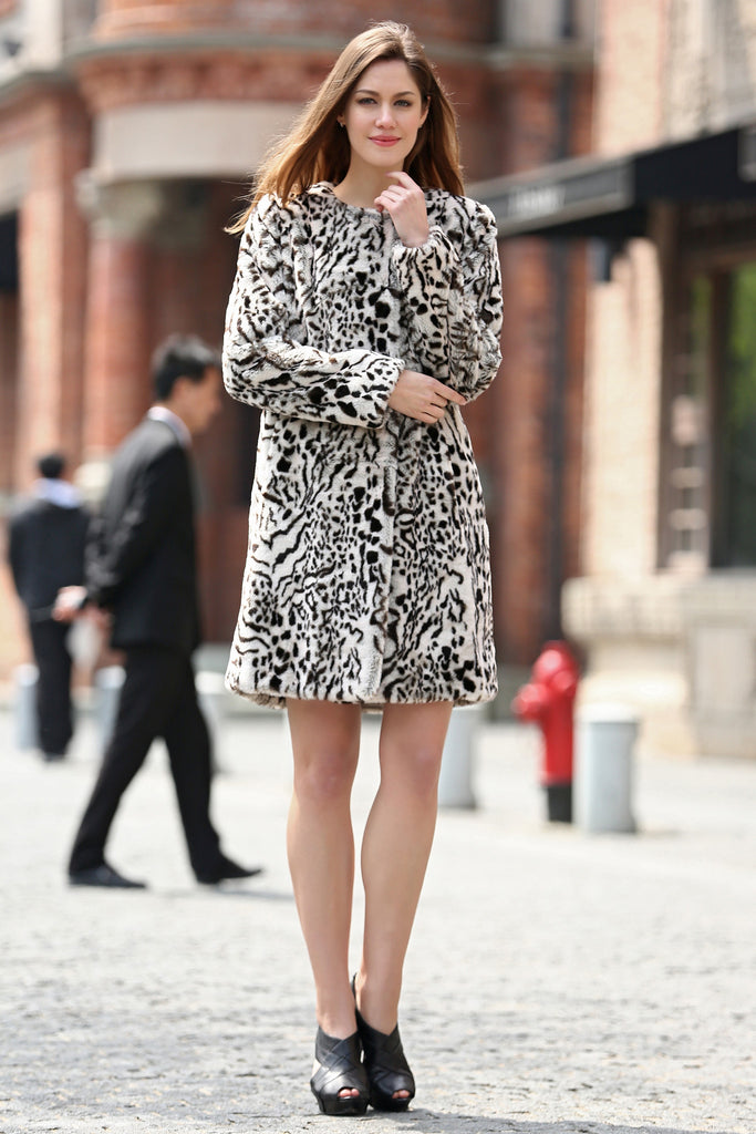Winter Style Fabulous Leopard Print Faux Fur Coat Collarless - Adelaqueen - 4