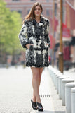Black White Grey Notched Collar Lush Faux Fur Wool Coat - Adelaqueen - 2