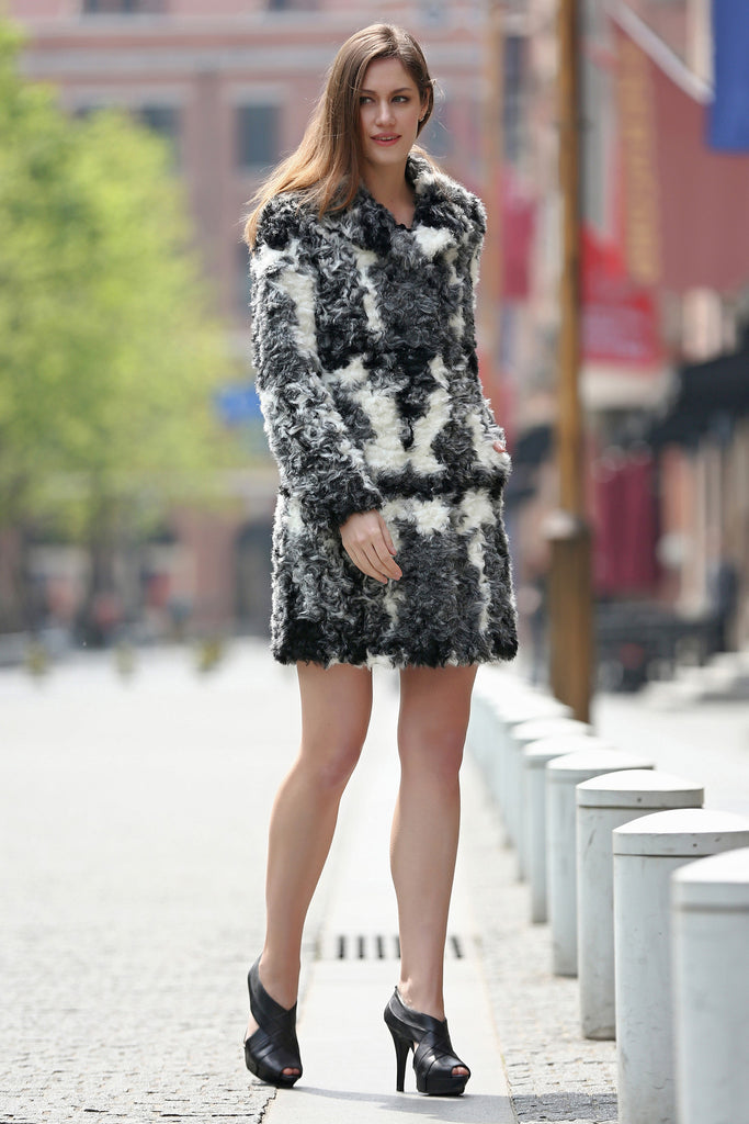 Black White Grey Notched Collar Lush Faux Fur Wool Coat - Adelaqueen - 3