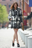 Black White Grey Notched Collar Lush Faux Fur Wool Coat - Adelaqueen - 4