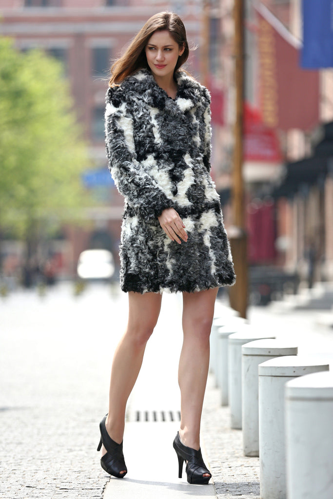 Black White Grey Notched Collar Lush Faux Fur Wool Coat - Adelaqueen - 5