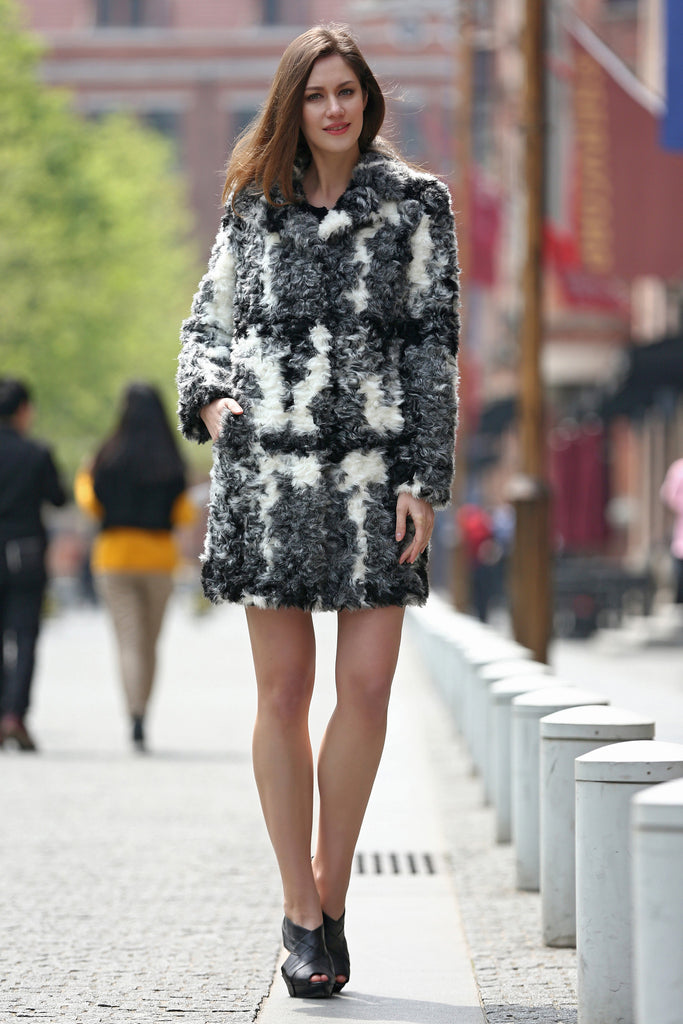Black White Grey Notched Collar Lush Faux Fur Wool Coat - Adelaqueen - 6