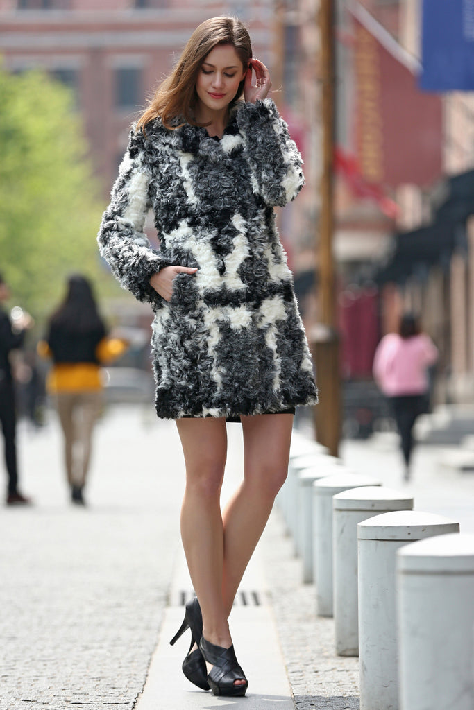 Black White Grey Notched Collar Lush Faux Fur Wool Coat - Adelaqueen - 7
