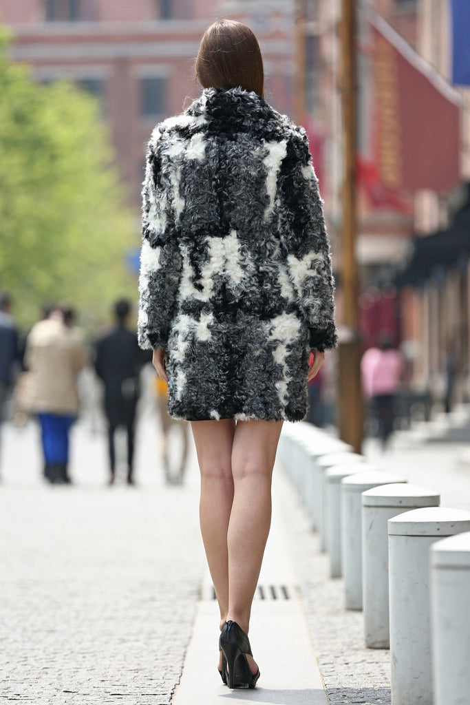 Black White Grey Notched Collar Lush Faux Fur Wool Coat - Adelaqueen - 8