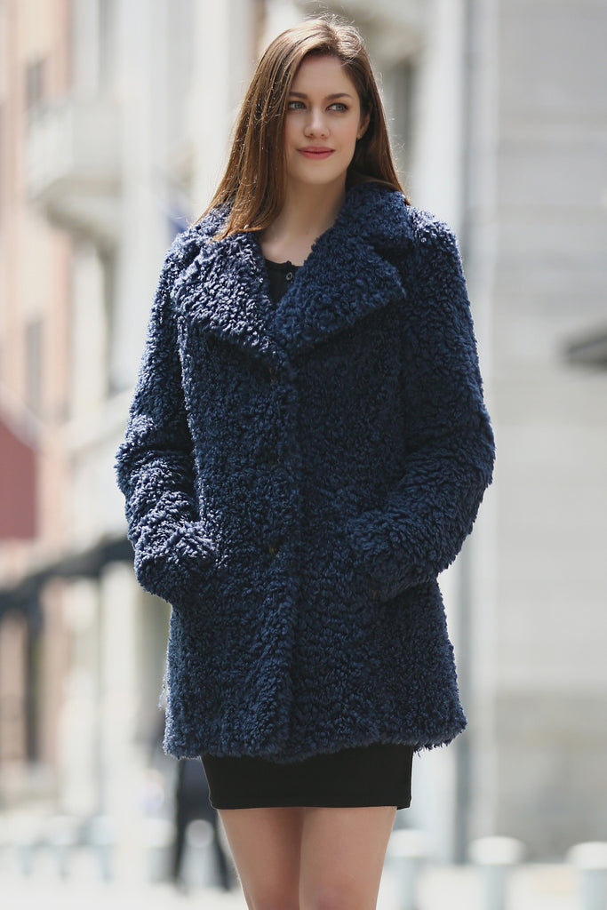 da149e00bdd ... Blue Lightweight Jacket Shaggy Faux Fur Coat Velvety Soft - Adelaqueen  - 1 ...