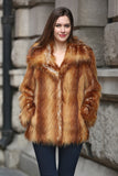 Yellow Shaggy  Vulpes Fox Faux Fur Coat with Notched Lapel - Adelaqueen - 1
