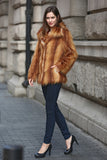 Yellow Shaggy  Vulpes Fox Faux Fur Coat with Notched Lapel - Adelaqueen - 3