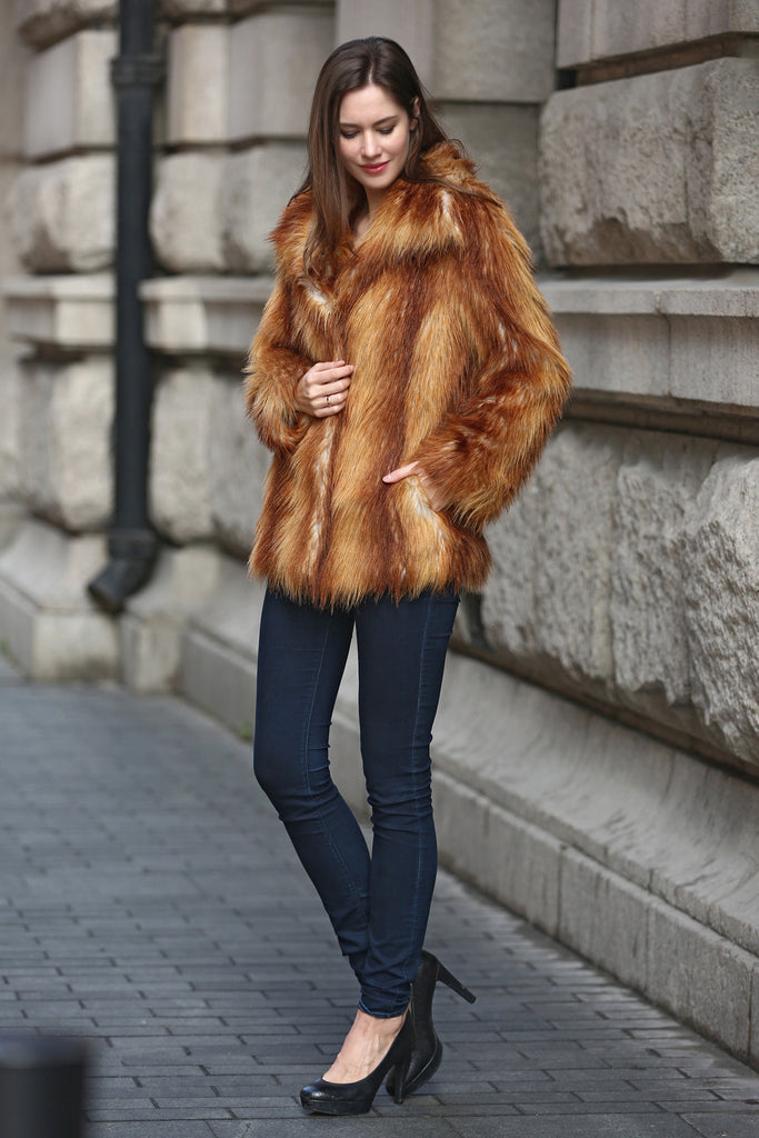 Yellow Shaggy  Vulpes Fox Faux Fur Coat with Notched Lapel - Adelaqueen - 4