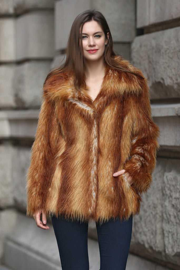 Yellow Shaggy  Vulpes Fox Faux Fur Coat with Notched Lapel - Adelaqueen - 2