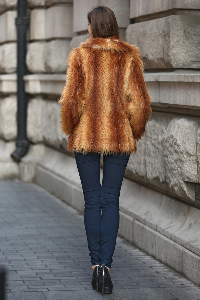 Yellow Shaggy  Vulpes Fox Faux Fur Coat with Notched Lapel - Adelaqueen - 5