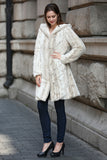 Lush Reversible Down Coat Snow Leopard Print Faux Fur Coat - Adelaqueen - 9