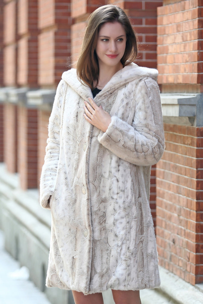 Lush Reversible Down Coat Snow Leopard Print Faux Fur Coat - Adelaqueen - 4