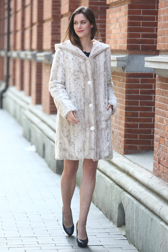 Lush Reversible Down Coat Snow Leopard Print Faux Fur Coat - Adelaqueen - 12