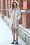 Lush Reversible Down Coat Snow Leopard Print Faux Fur Coat - Adelaqueen - 14