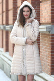 Lush Reversible Down Coat Snow Leopard Print Faux Fur Coat - Adelaqueen - 2