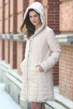 Lush Reversible Down Coat Snow Leopard Print Faux Fur Coat - Adelaqueen - 3