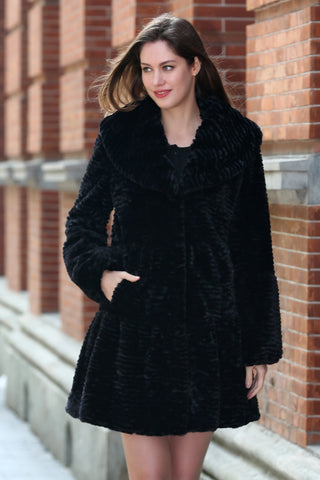 Brown Lush Karakul  Faux Fur Hooded Coat