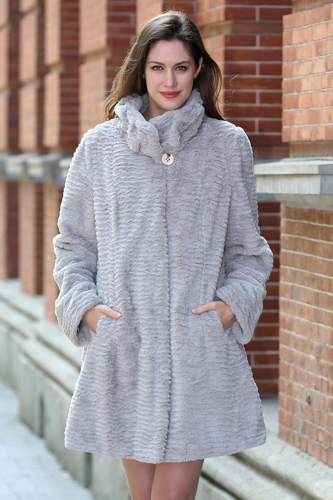 Persian Lamb Fabulous Faux Fur Coat Stylish Grey - Adelaqueen - 1