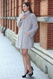 Persian Lamb Fabulous Faux Fur Coat Stylish Grey - Adelaqueen - 2